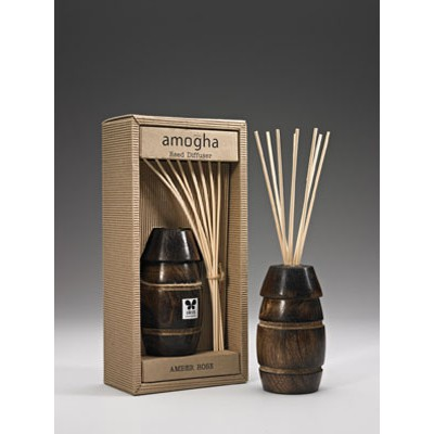 """IRIS-Wooden cask Reed Diffuser  - Amber Rose with ,8 reed stick of 10"""", 100ml and 60ML fragrance oil bottle"""