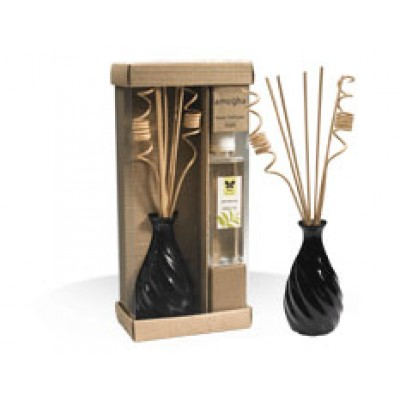 """IRIS-Attractive Ceramic Pot spiral Reed Diffuser  - Pine with 6 reed stick of 12"""" length, 2 spiral decorative reed sticks and 200ml diffuser oil bottle"""