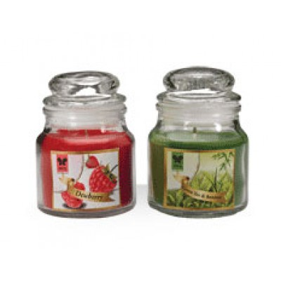 IRIS-glass jar filled candle, with butter paper on glass