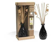 "IRIS-Attractive Ceramic Pot spiral Reed Diffuser  - Pine with 6 reed stick of 12"" length, 2 spiral decorative reed sticks and 200ml diffuser oil bottle"
